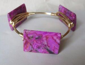 "Pink Crazy Lace Rectangle Stone Bangle Bracelet  ""Bourbon & Bowties"" Inspired"