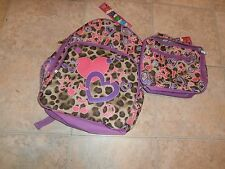 JUSTICE PURPLE/LEOPARD SPARKLY BACKPACK and LUNCH TOTE NWT HEARTS/MUSIC NOTES