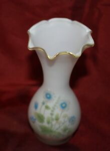 vintage frosted cased glass white ruffled vase painted blue flowers JAPAN vgvc