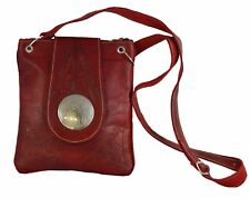 Moroccan Handbag Carved Leather  Evening Shoulder Strap  Bag iPad-Purse Red
