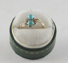 Antique victorian Turquoise Pearl 14k Yellow Gold Ring Size 6