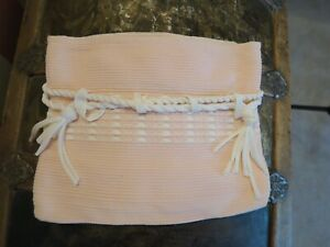 VINTAGE PINK CLOTH BAG PURSE FOLD OVER TOTE HAND LOOMED IN THE SMOKIES