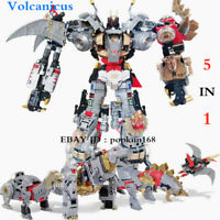 "New BPF Volcanicus Dinobot 5 In 1 Power of the Primes Action Figure 13"" Toys"
