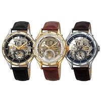 Men's Akribos XXIV AK1066 Automatic Skeleton Crocodile Style Leather Strap Watch