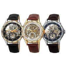 Men's Akribos XXIV AK1066 Automatic Skeleton Crocodile Style Leather Strap Watch
