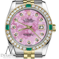 Ladies Rolex 36mm Datejust 2 Tone Glossy Pink Flower Dial Emerald Diamond Accent