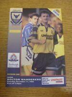 11/12/1993 Oxford United v Bolton Wanderers  (team changes). Footy Progs (aka bo