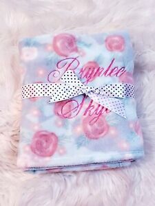 PERSONALIZED Custom Embroidered Luxe Minky Watercolor Rose Infant Blanket 25x29