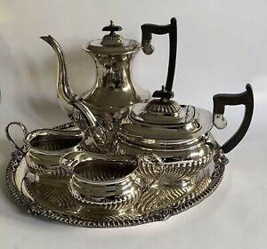 Fabulous Vintage Viners Of Sheffield Alpha Silver Plate 5 Piece Coffee/Tea Set