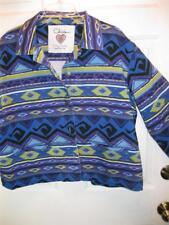 CHICOS Anniversary Collection Blue Green Purple Denim Jacket Top 3 Lg