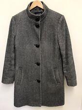 ce1e48810c2 Jaeger Womens Grey Herringbone Coat Wool Blend Long Coat Size 12UK