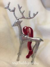 NIB Pottery Barn ~SCULPTED REINDEER~ Silver ORNAMENT ~CHRISTMAS~ ALPINE Lodge