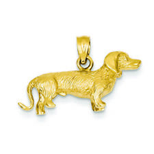 14K Yellow Gold 3Dimensional Wire Haired Dachshund Dog Charm Pendant Msrp $764