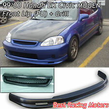 Mu-gen Style Front Bumper Lip (PU) + TR Style Grill (ABS) Fit 99-00 Civic 4dr