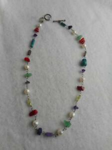 SILPADA 925 TURQUOISE AMETHYST PERIDOT RED CORAL & FW PEARL NECKLACE N1033