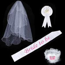 Bride To Be Hen Night Party Accessory White Badge Sash Lace Garter Wedding Prop