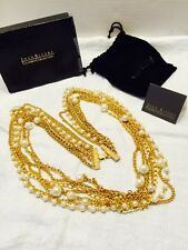 Vtg 1994 Retired JOAN RIVERS 7 Strand Chain & Faux Pearl Necklace Org Box & Bag