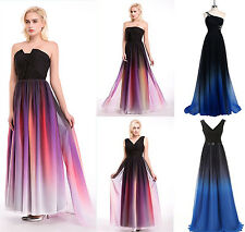 Stock Long Gradient Chiffon Ombre Ball Gown Formal Party Evening Prom Dress Maxi