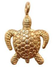 DH107G - 24k Gold over Sterling Silver Vermeil 18mm Sea Turtle Dangle Charm - 1