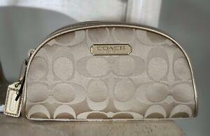 COACH Gold Signature-Jacquard-Limited Edition Estee Lauder Small Cosmetic Bag