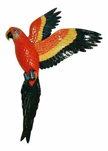 Flying Tropical Macaw Parrot Tiki Bar 19 Inch Wall Decor Red