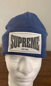 SUPREME WOVEN LABEL BEANIE/ SLATE OS (IN HAND) WEEK 11 (AUTHENTIC) BRAND NEW