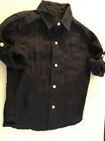 Janie And Jack Toddler Boys Navy 100% Linen Button  Down Shirt 2T Preowned