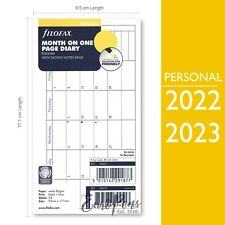 Filofax 2022 2023 Personal Month On One Page Diary Refill 68405