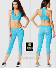 ZUMBA 2Pc.SET! Aztec Capri Leggings+V-BRA RacerBack TOP Dance Fitness-Yoga S M L