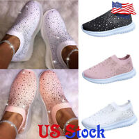 Women's Shiny Casual Low Top Low Heel Sneakers Breathable Slip On Socks Shoes