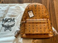 MCM STARK MEDIUM SIZE COATED-CANVAS BACKPACK BAG | CONGNAC | AUTHENTIC - NEW