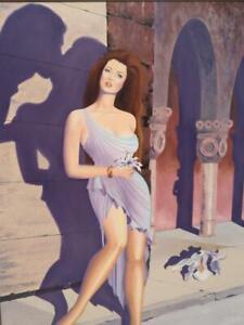 Vintage Romance Novel Illustration Portrait Woman Lady Flowers Oil Painting Art
