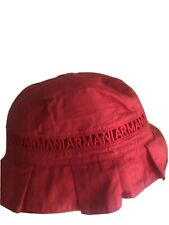 100% Auth Armani Junior Red logo embroidered toddler sun hat cap 24 -36 months