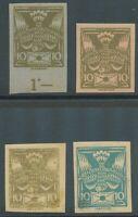 TSCHECHOSLOWAKEI 1920 Taube mit Brief 10 (H) blaugrün +braunoliv (3) PROBEDRUCKE