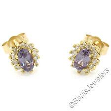 NEW 14K Yellow Gold Oval Taveta Garnet Solitaire & Diamond Halo Stud Earrings