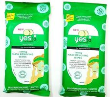 Yes to Cucumber Calming & Soothing 5 Mask Removing Wipes for Sensitive Skin 2 Pk