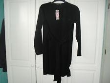 Boohoo Black Long Sleeved Dress with Tie Belt - Size 16 - BNWT