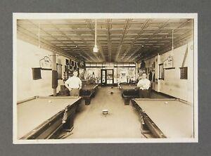 ca1905 COMBINED POOL HALL / BARBERSHOP / CIGAR SHOP INTERIOR CARD MOUNT PHOTO