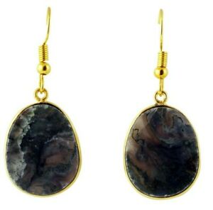 Brand New Pretty Juni Agate Multifaceted Stone 18K Gold Plated Drop Earrings