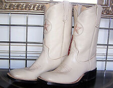 New Anderson Bean Square Toe Cream Kidskin Dyable Cowboy Boots 6.5D Ladies 7.5 D