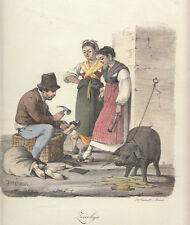 Zoccolaio, 1827  Morner Cuciniello e Bianchi lito acquarellata