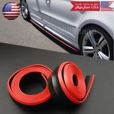 2 x 8FT Black w/ Red Trim EZ Fit Bottom Line Side Skirt Lip Trim For Honda Acura