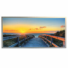 LED Leuchtbild, Wandbild Bild mit Alu Rahmen, 120 x 60 cm Strand mit Brücke