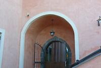 Sospensione grande rustica per esterno su misura in ferro battuto da 27 art.462