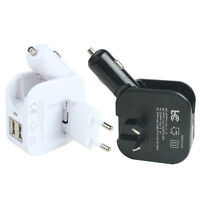 USB Wall Car Charger Combo 2.1A 2-in-1 Dual Port USB Car Charger and Home Travel
