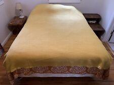 Vintage Blanket Acrylic Thermal Waffle Weave Yellow Nylon Binding 86x72 Full JCP