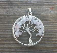 NATURAL ROSE QUARTZ TREE OF LIFE  WIRE WRAPPED PENDANT STONE GEMSTONE
