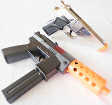2x Toy Guns Military KG-9 J Toy Machine Pistol Silver 9MM Cap Guns Set