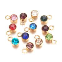 30pcs Glass Rhinestone Flat Round Charms Mini Dangle Pendants Crafting 10x6mm