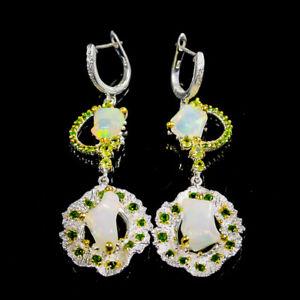Opal Earrings Silver 925 Sterling AAA gem Luxury 20 ct+   /E44593